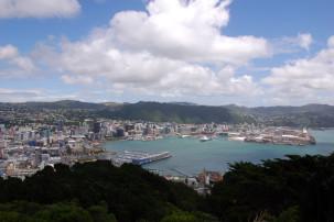 Mount Victoria - Blick auf den Hafen von Wellington