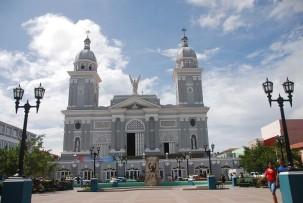 Die Kathedral am Parque Céspedes in Santiago de Cuba